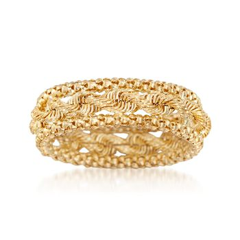 14kt Yellow Gold Rope and Popcorn Chain Ring, , default