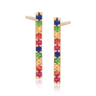 .20 ct. t.w. Multicolored Multi-Stone Earrings in 14kt Yellow Gold, , default