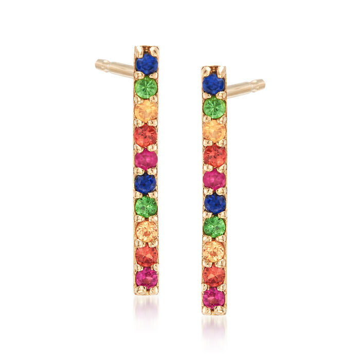 .20 ct. t.w. Multicolored Multi-Stone Earrings in 14kt Yellow Gold, , default