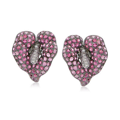 C. 1990 Vintage 4.30 ct. t.w. Pink Sapphire and .40 ct. t.w. Diamond Flower Earrings in 18kt White Gold, , default