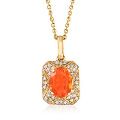 Fire Opal and .12 ct. t.w. Diamond Frame Pendant Necklace in 14kt Yellow Gold, , default