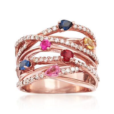 1.25 ct. t.w. Multi-Stone and .63 ct. t.w. Diamond Highway Ring in 14kt Rose Gold, , default