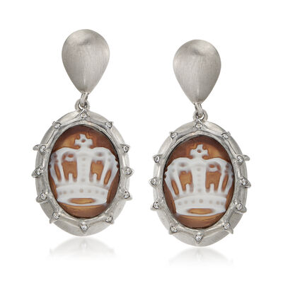 Italian .20 ct. t.w. CZ Crown Cameo Drop Earrings in Sterling Silver, , default