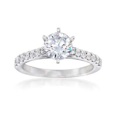 .37 ct. t.w. Diamond Engagement Ring Setting in 14kt White Gold, , default