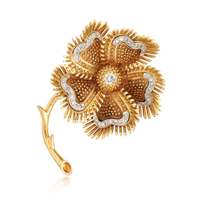 C. 1980 Vintage 1.00 ct. t.w. Diamond Floral Pin in 18kt Yellow Gold , , default