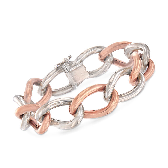 """C. 1980 Vintage Two-Tone Gold Twisted Link Bracelet. 7.75"""", , default"""