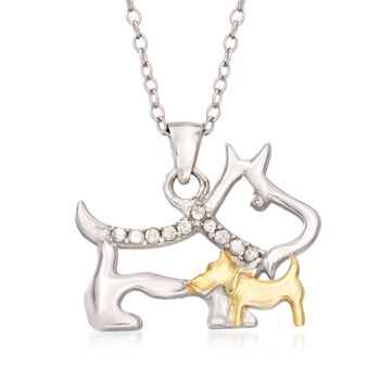 ".10 ct. t.w. Diamond Mother Dog and Puppy Pendant Necklace in Sterling Silver and 18kt Gold Over Sterling. 18"", , default"