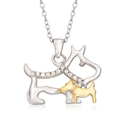 .10 ct. t.w. Diamond Mother Dog and Puppy Pendant Necklace in Sterling Silver and 18kt Gold Over Sterling, , default