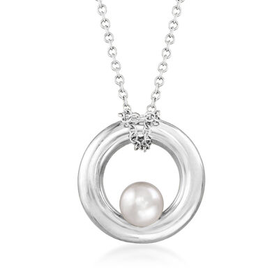 C. 1990 Vintage Mimi Milano 4.5m Cultured Pearl Circle Necklace in 18kt White Gold