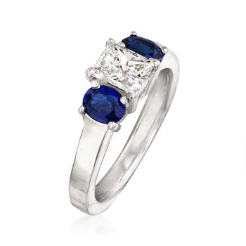 C. 1980 Vintage .75 Carat Diamond and .70 ct. t.w. Sapphire Ring in 14kt White Gold. Size 5.5