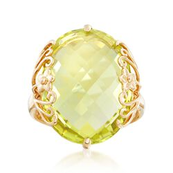 16.00 Carat Lemon Quartz Ring in 14kt Yellow Gold, , default