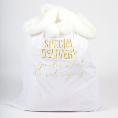 White Velvet Santa Bag, , default