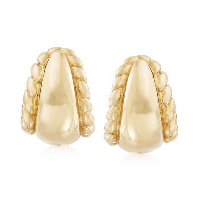 Italian Twisted Edge Earrings in 18kt Yellow Gold, , default