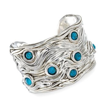"""Sterling Silver and Turquoise Wavy Cuff Bracelet. 7"""", , default"""
