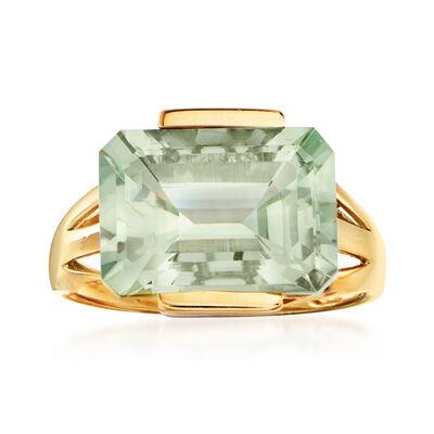 7.00 Carat Prasiolite Ring in 14kt Yellow Gold