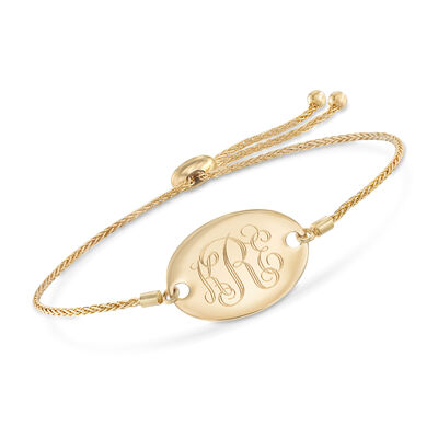 14kt Yellow Gold Personalized Oval Bolo Bracelet, , default