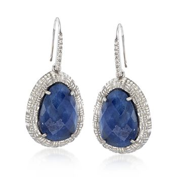 20.00 ct. t.w. Opaque Sapphire and .10 ct. t.w. White Topaz Basketweave Drop Earrings in Sterling Silver, , default