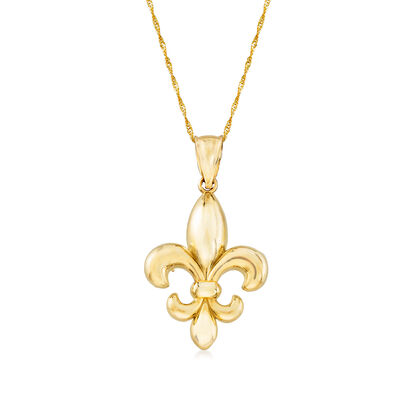 14kt Yellow Gold Fleur-De-Lis Pendant Necklace