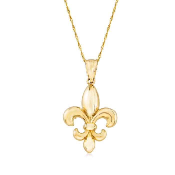14kt Yellow Gold Fleur-De-Lis Pendant Necklace