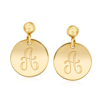 Italian 14kt Yellow Gold Personalized Single- Initial Disc Drop Earrings