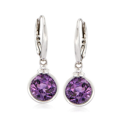 3.30 ct. t.w. Amethyst Drop Earrings in Sterling Silver