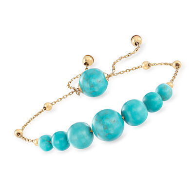 5-10mm Graduated Stabilized Turquoise Bolo Bracelet in 14kt Yellow Gold, , default