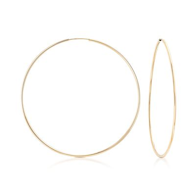1.5mm 14kt Yellow Gold Endless Hoop Earrings, , default