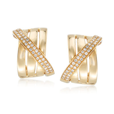 .33 ct. t.w. Diamond Sash Earrings in 14kt Yellow Gold, , default