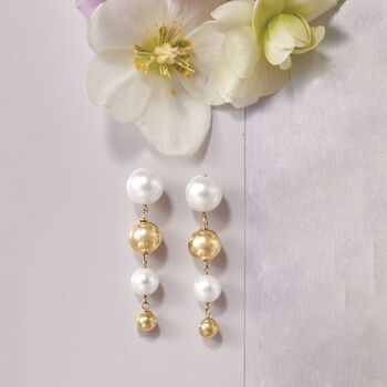 8-12mm Cultured Pearl and 14kt Yellow Gold Graduated Bead Drop Earrings, , default