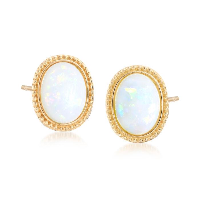 Opal Earrings in 14kt Yellow Gold, , default