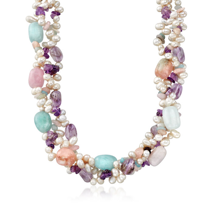 "4-6.5mm Cultured Pearl and Multi-Stone Torsade Necklace With Sterling Silver. 18"", , default"