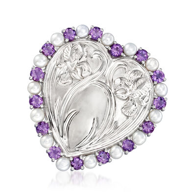 3.5-4mm Cultured Pearl and 1.90 ct. t.w. Amethyst Heart with Flowers Pin in Sterling Silver, , default