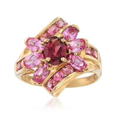 C. 1980 Vintage 2.50 ct. t.w. Pink Topaz and .85 Carat Garnet Ring in 9kt Yellow Gold, , default