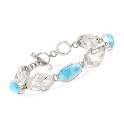 Bezel-Set Larimar and Sterling Silver Oval Bracelet, , default