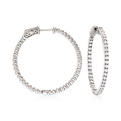 2.00 ct. t.w. CZ Hoop Earrings in Sterling Silver, , default