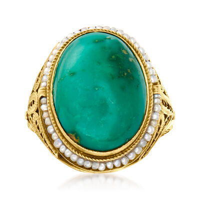 C. 1950 Vintage Turquoise and Seed Pearl Ring  in 14kt Yellow Gold