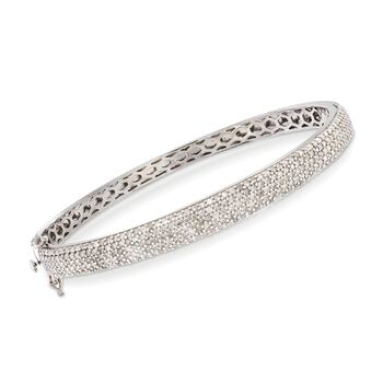 2.20 ct. t.w. Pave Diamond Bangle Bracelet in Sterling Silver, , default