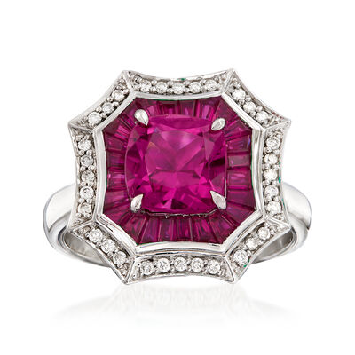 1.90 Carat Pink Tourmaline and 2.90 ct. t.w. Ruby with .17 ct. t.w. Diamond Ring in 14kt White Gold, , default