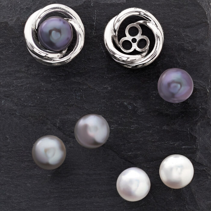8-9mm Multicolored Cultured Pearl Jewelry Set: Three Pairs of Studs with Love Knot Earring Jackets in Sterling