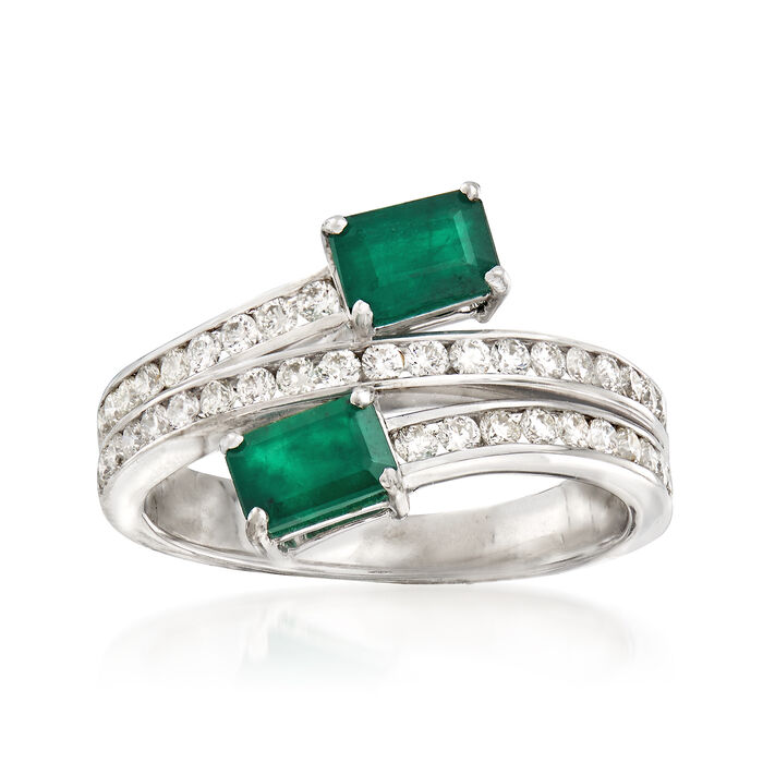 1.10 ct. t.w. Emerald and .60 ct. t.w. Diamond Bypass Ring in 18kt White Gold, , default