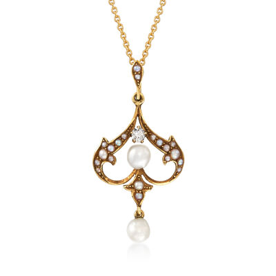 C. 1930 Vintage Cultured Pearl Chandelier Pendant Necklace with Diamond Accents in 14kt Yellow Gold