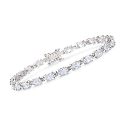 8.25 ct. t.w. Aquamarine Bracelet in Sterling Silver , , default