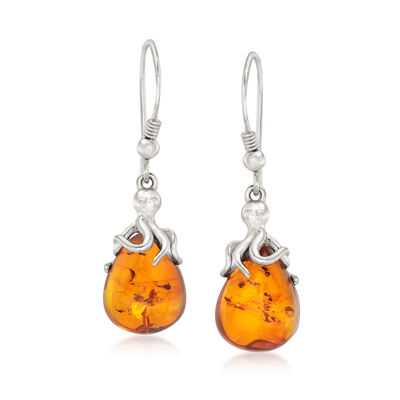 Amber Octopus Drop Earrings in Sterling Silver