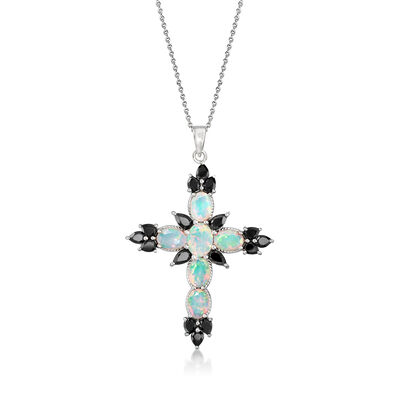 Opal and 2.90 ct. t.w. Black Spinel Cross Pendant Necklace in Sterling Silver