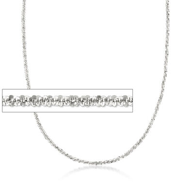 Italian 2mm Sterling Silver Crisscross Chain Necklace