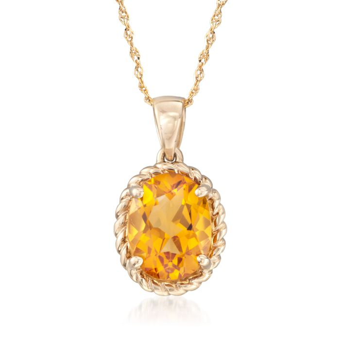 """1.70 Carat Citrine Pendant Necklace in 14kt Yellow Gold. 18"""""""
