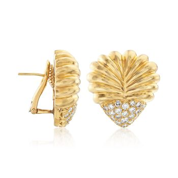 C. 1980 Vintage Henri Carre 2.20 ct. t.w. Diamond Ribbed Heart Earrings in 18kt Yellow Gold , , default