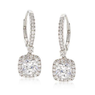 3.06 ct. t.w. CZ Drop Earrings in Sterling Silver