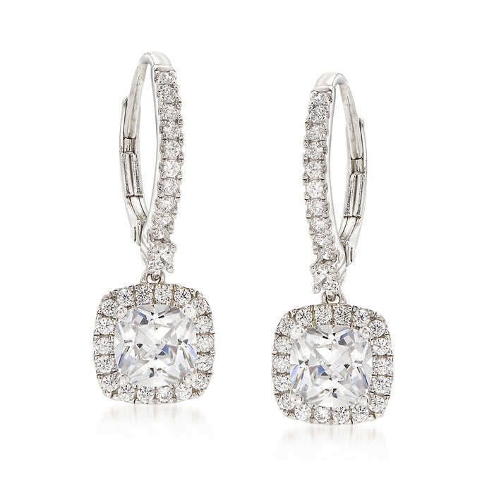 3.06 ct. t.w. CZ Drop Earrings in Sterling Silver