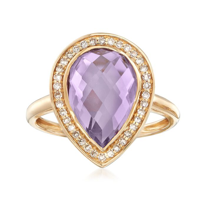 3.60 Carat Pear-Shaped Amethyst and .19 ct. t.w. Diamond Ring in 14kt Yellow Gold